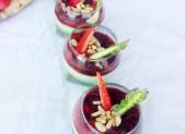 Pannacotta aux deux Asperges  et Chutney de fraises